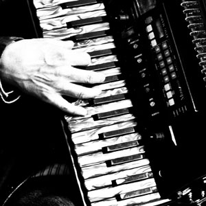 Close up of hand playing accordion