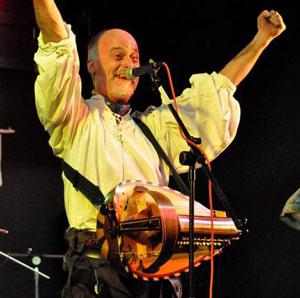 Damian Clarke with hurdy gurdy