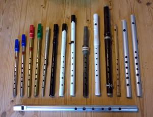 Some of my whistles and flutes - the three on the right are homemade