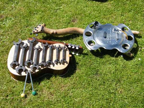 Spanner metallophone and hubcap slide guitar