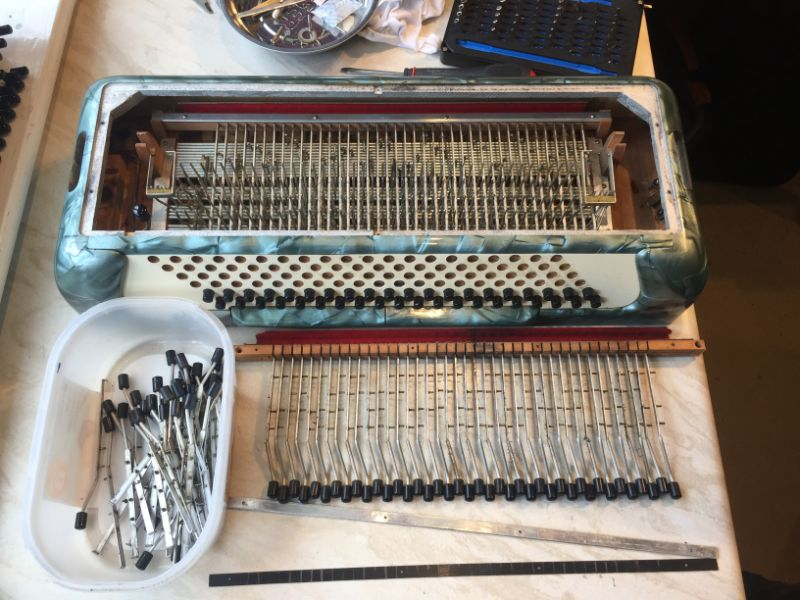 Accordion Bass Mechanism Half Dismantled
