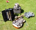 Spanner Metalophone, Driftwood Slide with Steampunk accordion and hat
