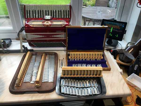 A refurbuishment job on a Fontanella - I stripped all the reeds off, relaced every valve and waxed the reeds back in again.